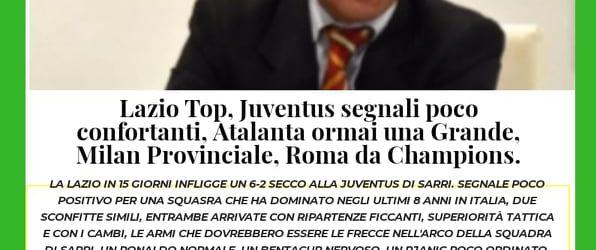 Lazio Top, Juventus segnali poco confortanti, Atalanta ormai una Grande, Milan Provinciale, Roma da Champions.